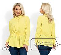 Женская рубашка с кулиской на талии (4 цвета) - Желтый НК/-2816, фото 1