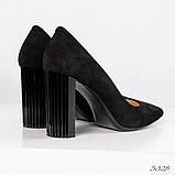 Эксклюзивные, шикарные черные туфли из итальянской замши на геометрическом каблуке, фото 2