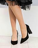 Эксклюзивные, шикарные черные туфли из итальянской замши на геометрическом каблуке, фото 4