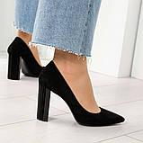 Эксклюзивные, шикарные черные туфли из итальянской замши на геометрическом каблуке, фото 6