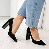 Эксклюзивные, шикарные черные туфли из итальянской замши на геометрическом каблуке, фото 7