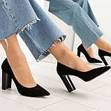 Эксклюзивные, шикарные черные туфли из итальянской замши на геометрическом каблуке, фото 8