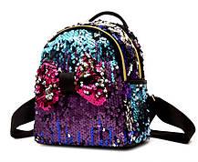 Казковий міський рюкзак з паєтками і бантиком, фото 3