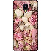 Силиконовый бампер чехол для Meizu M5c с рисунком розовые Пионы