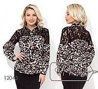 Женская блузка с гипюром (2 цвета) - Коричневый НК/-4411, фото 1