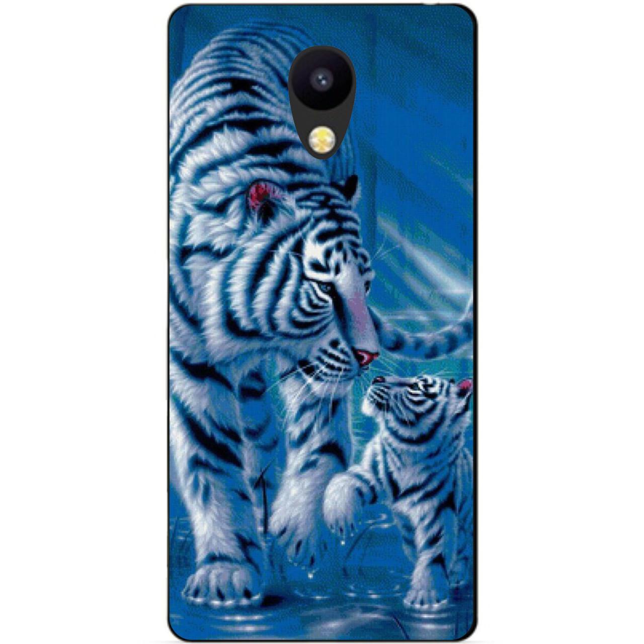 Силиконовый бампер чехол для Meizu M5c с рисунком Тигры