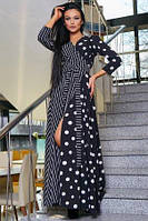 Платье женское на запах черное в горох, платье нарядное длинное в пол эффектное
