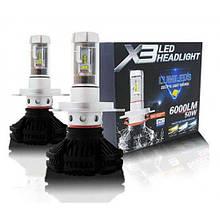 Светодиодные LED лампы X3 H4 для автомобиля, автолампы