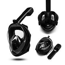 Маска для плавания, снорклинга, ныряния с трубкой, панорамная (черная)