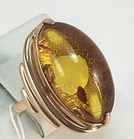 Кольцо с янтарем золотое 583 проба СССР