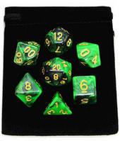 Набор кубиков Микс d00, d4, d6, d8, d10, d12, d20 (зелёный) T&G  + мешочек  (Dice Set Mix T&G (7) + bag)