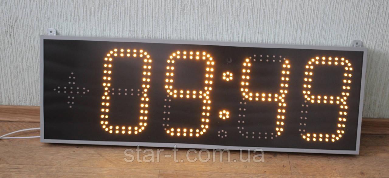 Часы светодиодные желтые 900х300х50мм.