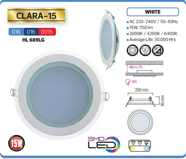 """фото описание характеристики Светодиодный встраиваимый светильник """"CLARA-15"""" 15W 4200K, 6400K"""