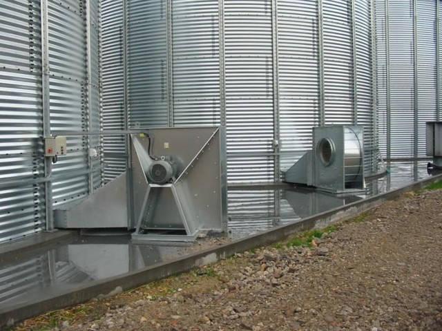 Радиальные вентиляторы для аерации зерновых силосов, зерна