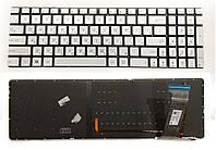 Клавиатура для ноутбука ASUS (N551, N751 series) RU silver, без фрейма, подсветка клавиш новая