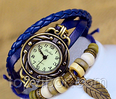 🔝 Красивые женские часы, в винтажном стиле, с ремешком, цвет - синий | 🎁%🚚