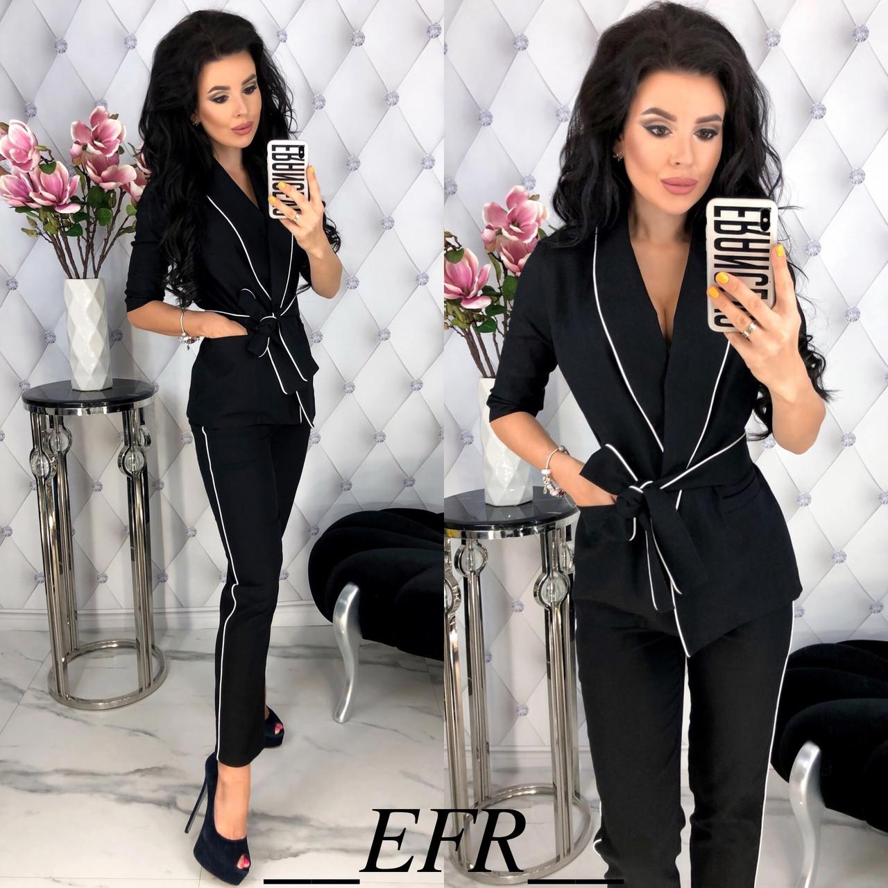 0f428bb0e6f2 Льняной брючный костюм женский (5 цветов) - Черный ЕФ/-396