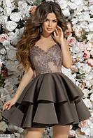 Вечернее платье мини с пышной юбкой с воланами гипюр открытая спина без рукав коричневое