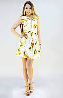 Коттоновое платье с цветочным принтом до середины бедра, фото 1