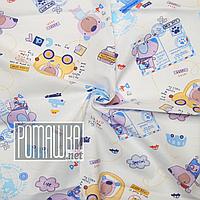 Бязевая тонкая пелёнка (польская бязь) 100х80 см детская для пеленания новорожденного в роддом 4688 Голубой, фото 1