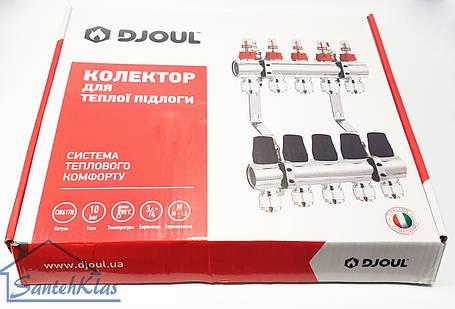 Коллектор DJOUL латунный с расходомерами и евроконусами, выходов, фото 2