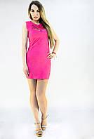 Летнее розовое платье с перфорацией на груди, фото 1