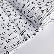 """Турецкая хлопковая ткань ранфорс """"буквы на белом"""" 240 см"""
