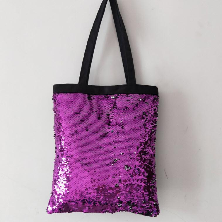 Большая оригинальная сумка шоппер с двухсторонней пайеткой
