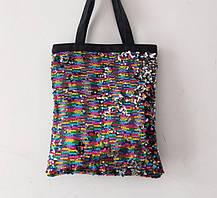 Большая оригинальная сумка шоппер с двухсторонней пайеткой, фото 3