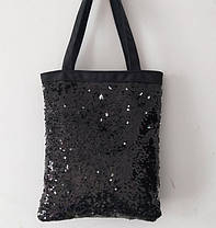Велика оригінальна сумка шоппер з двостороннім пайеткой, фото 3