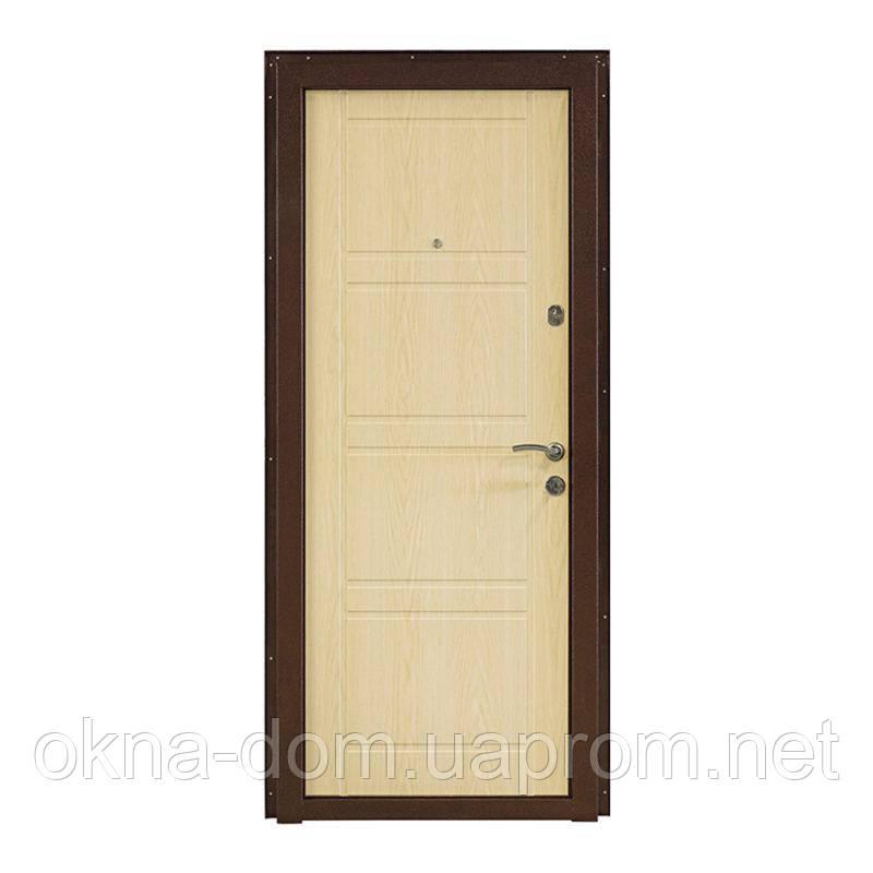 """Вхідні двері """"МІНІСТЕРСТВО ДВЕРЕЙ"""" ПК-09+Венге структурний/білений дуб"""