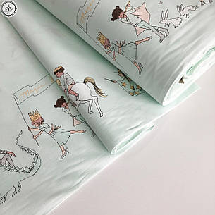 """Турецкая хлопковая ткань ранфорс """"парад на мятном"""" 240 см, фото 2"""