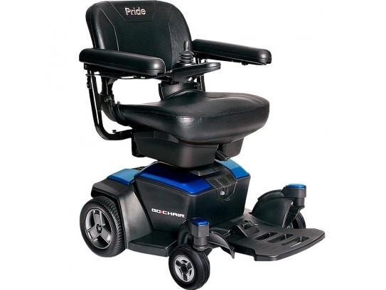 """Инвалидная коляска с электромотором """"GO CHAIR"""" синего цвета (дальность: до 14 км, скорость: до 5,5 км/ч)"""