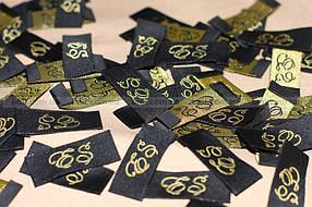 жаккардовые этикетки с шелковым (золотым) логотипом