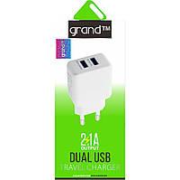 Сетевое зарядное 2USB 2.1A Grand GH-C01