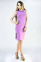Стильное платье лилового цвета с разрезами по колено, фото 1