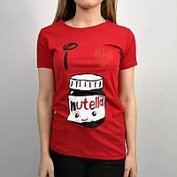 Женская футболка приталенная красного цвета с рисунком ореховой пасты фирмы Nutella, размер: S, L. Турция