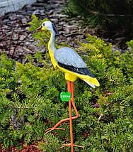Садовая фигура Цапля на металлических лапах малая, фото 3