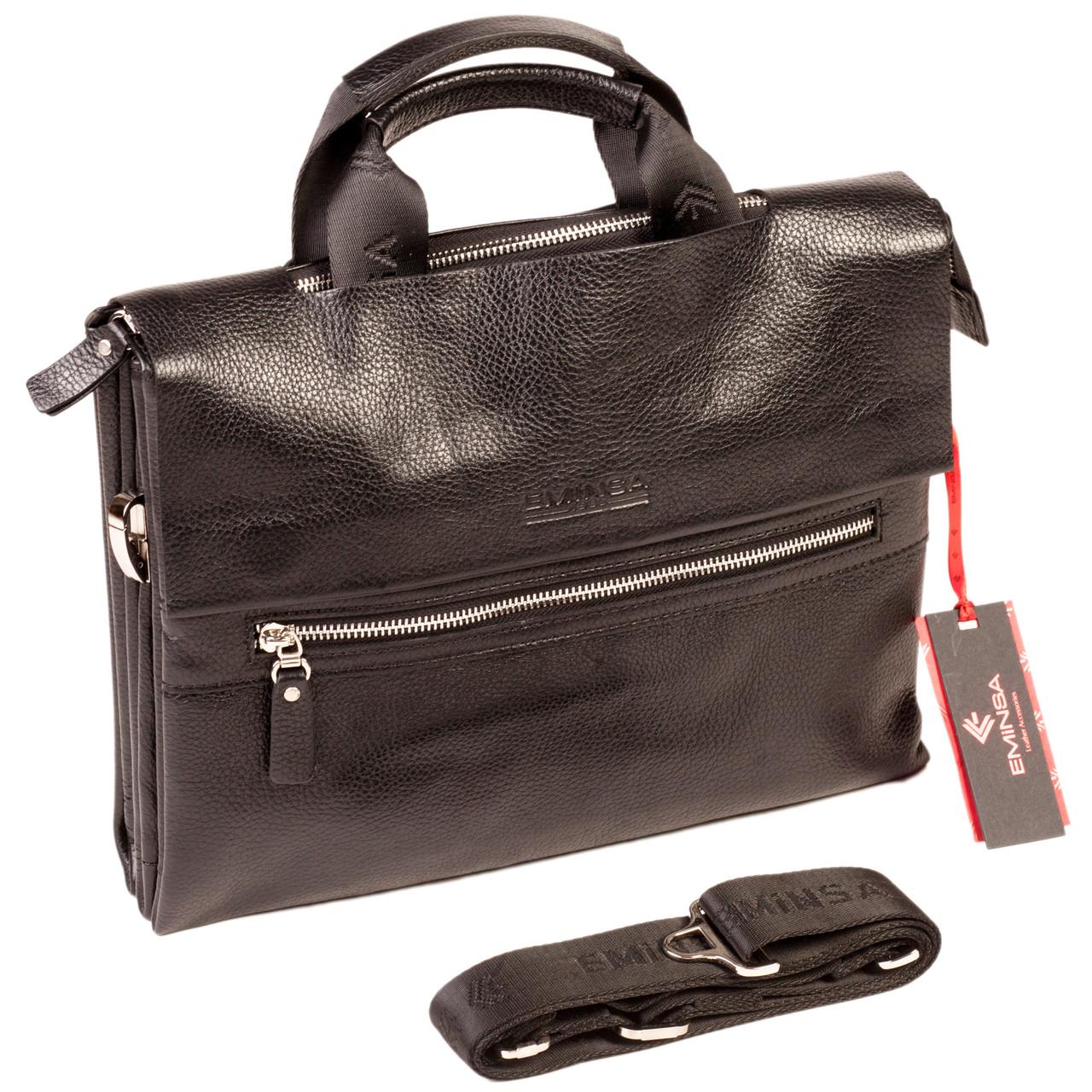 0a02f7c81f77 Мужская сумка Eminsa 7102-18-1 кожаная черная - FainaModa магазин кожаных  изделий в