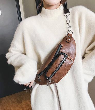 Стильная поясная унисекс сумка бананка под кожу, фото 2