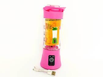 Портативный переносной блендер для приготовления смузи. Розовый., фото 2