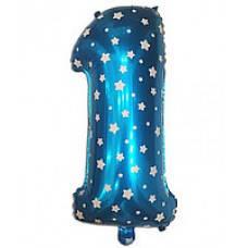 """Надувная фольгированная цифра """"1"""" голубая со звездочками 65 см."""