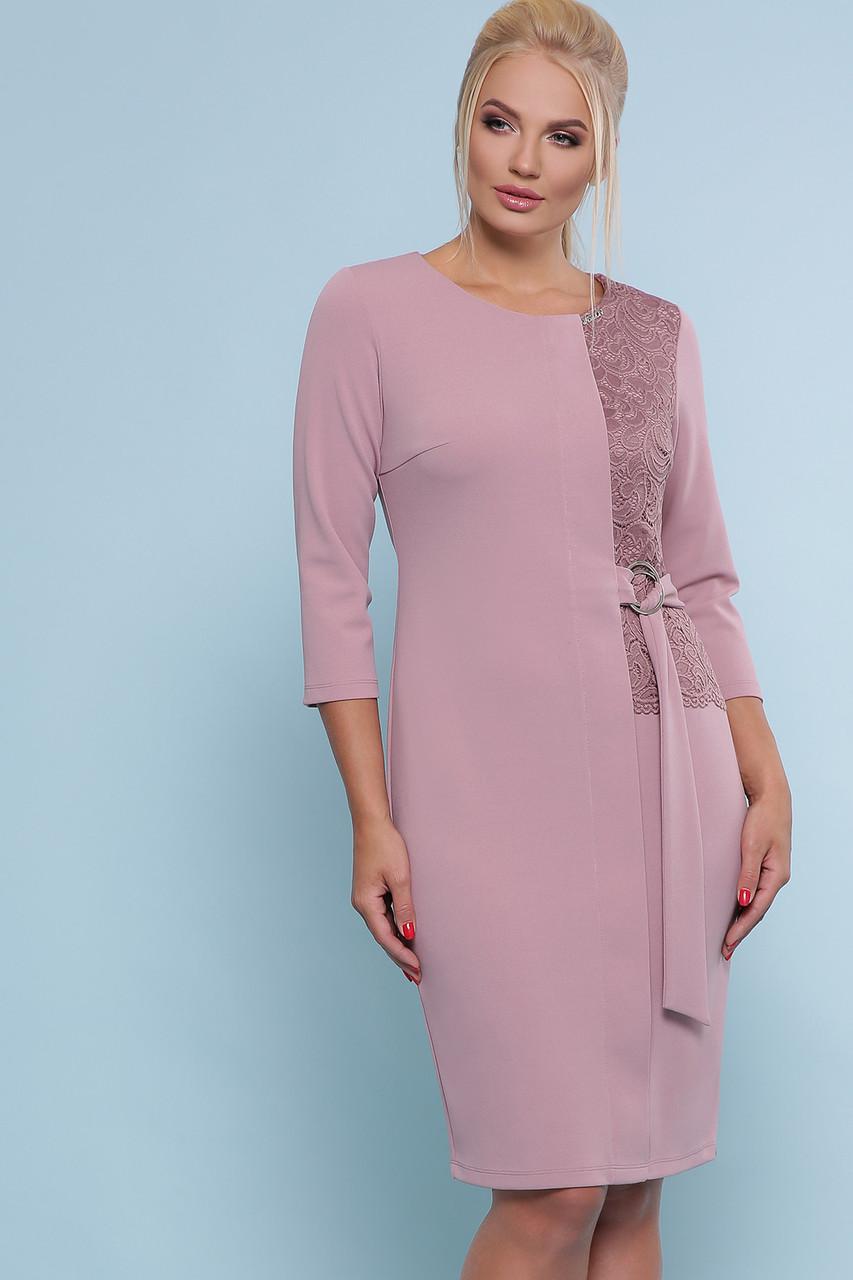 Женское лиловое прямое Коктейльное платье Делия-Б к/р большие размеры