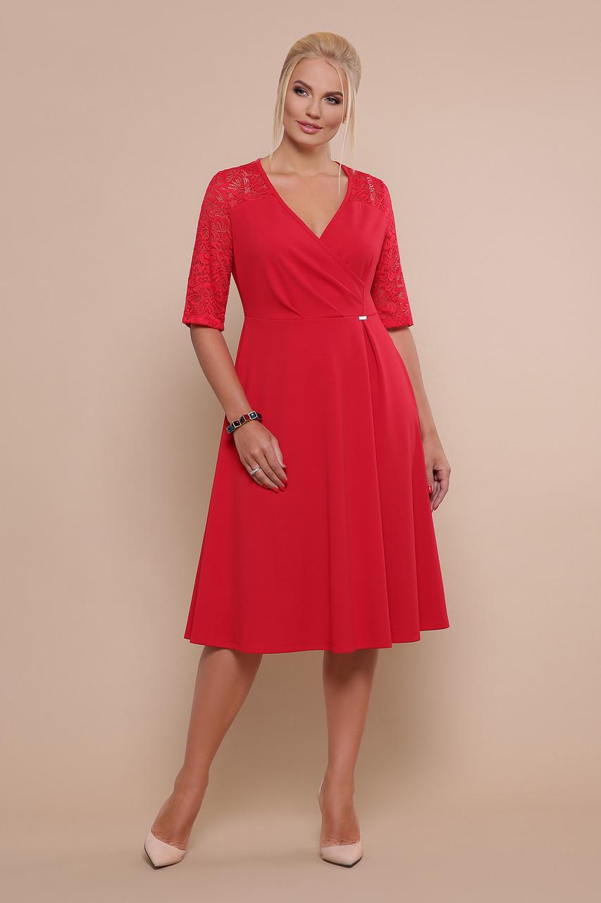 Коктейльне плаття міді з мереживними рукавами і пишной спідницею Іда-Б к/р червоний