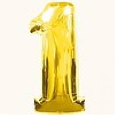 """Надувная фольгированная цифра """"1"""" золотая 65 см."""