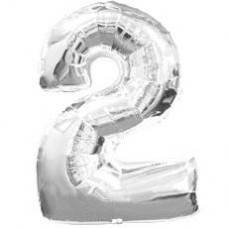 """Надувная фольгированная цифра """"2"""" серебро 65 см."""