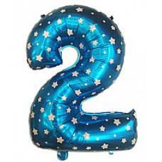 """Надувная фольгированная цифра """"2"""" голубая со звездочками 65 см"""