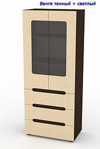 Шкаф с ящиками и витриной МС-21 Стиль