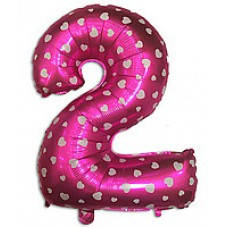"""Надувная фольгированная цифра """"2"""" розовая с сердечками 65 см"""