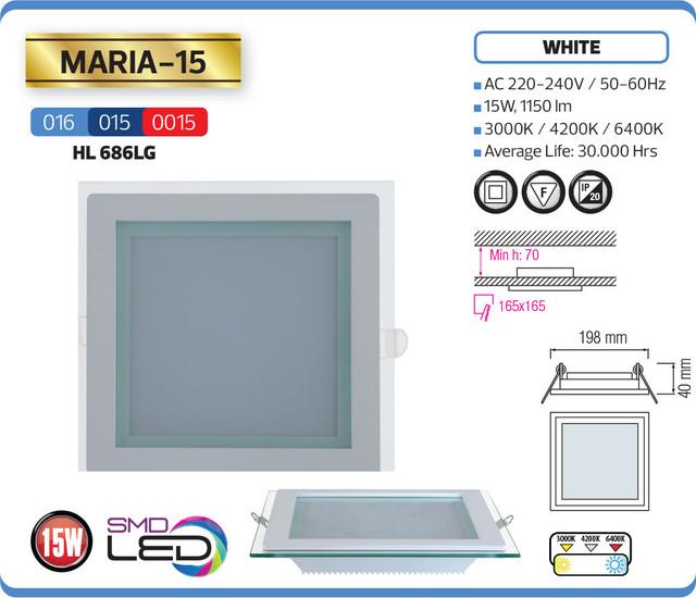 """фото описание характеристики Светодиодный встраиваимый светильник """"MARIA-15"""" 15W 4200K, 6400K"""
